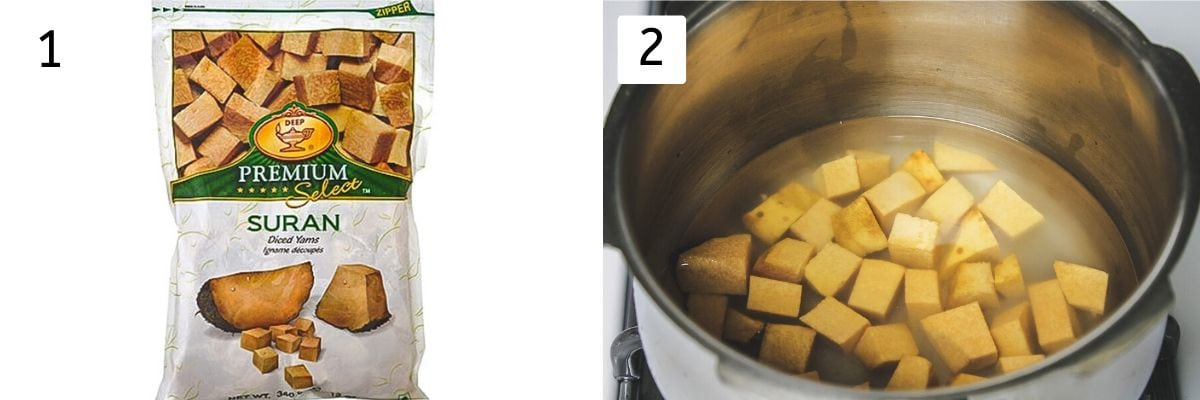 Collage of 2 steps showing frozen suran packet and suran cubes in the cooker with water.