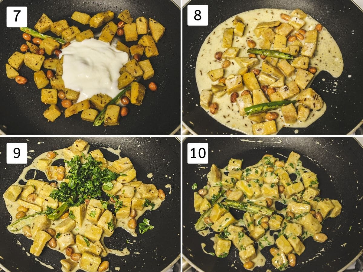 Collage of 4 steps showing adding yogurt, mixing, adding cilantro and ready sabji