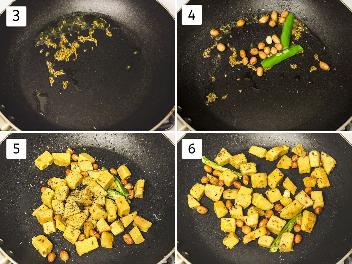 Collage of 4 steps showing cumin seeds in the ghee, adding peanut and green chili, adding boiled suran, salt, pepper and mixed.