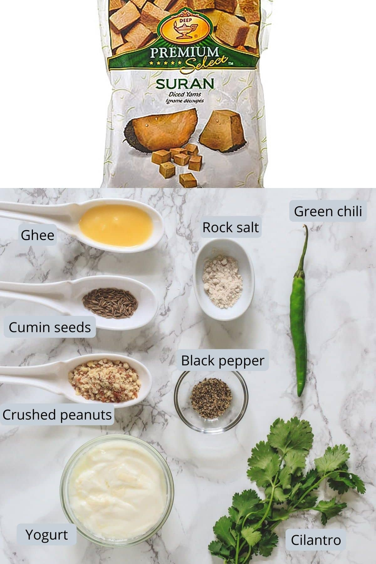 Image of ingredients used in suran sabji includes frozen suran, ghee, peanuts, salt, pepper, cumin seeds, yogurt, green chili, cilantro