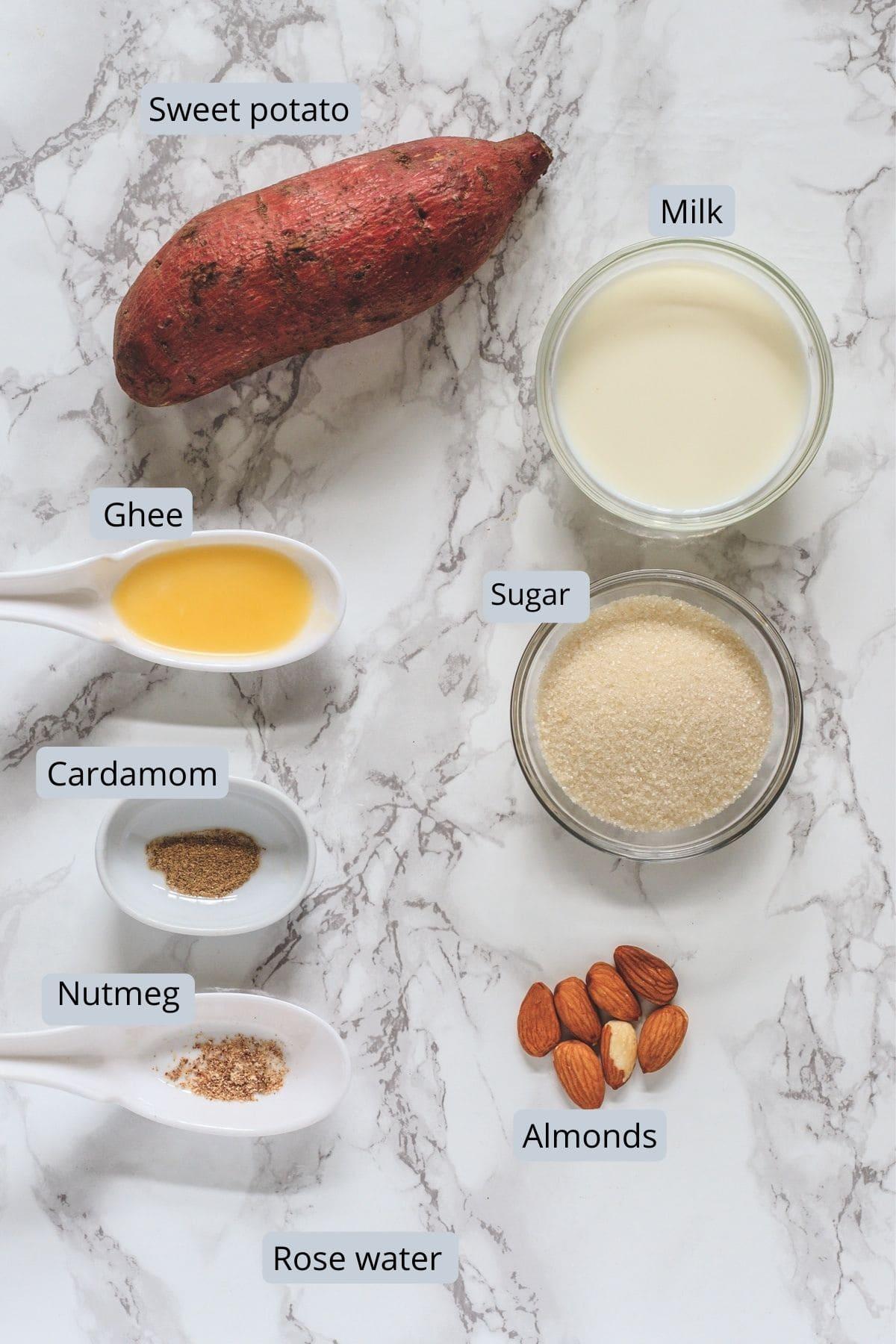 ingredients used in sweet potato halwa includes sweet potato, ghee, sugar, milk, almonds, cardamom, nutmeg