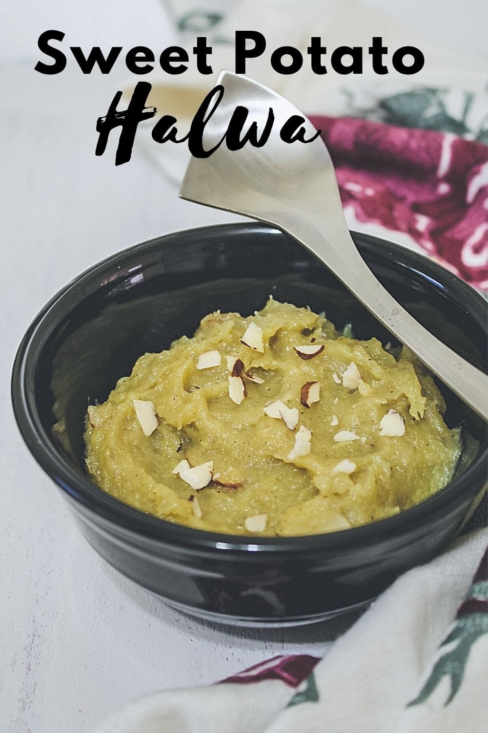 sweet potato halwa in a bowl with text on top of the image for pinterest