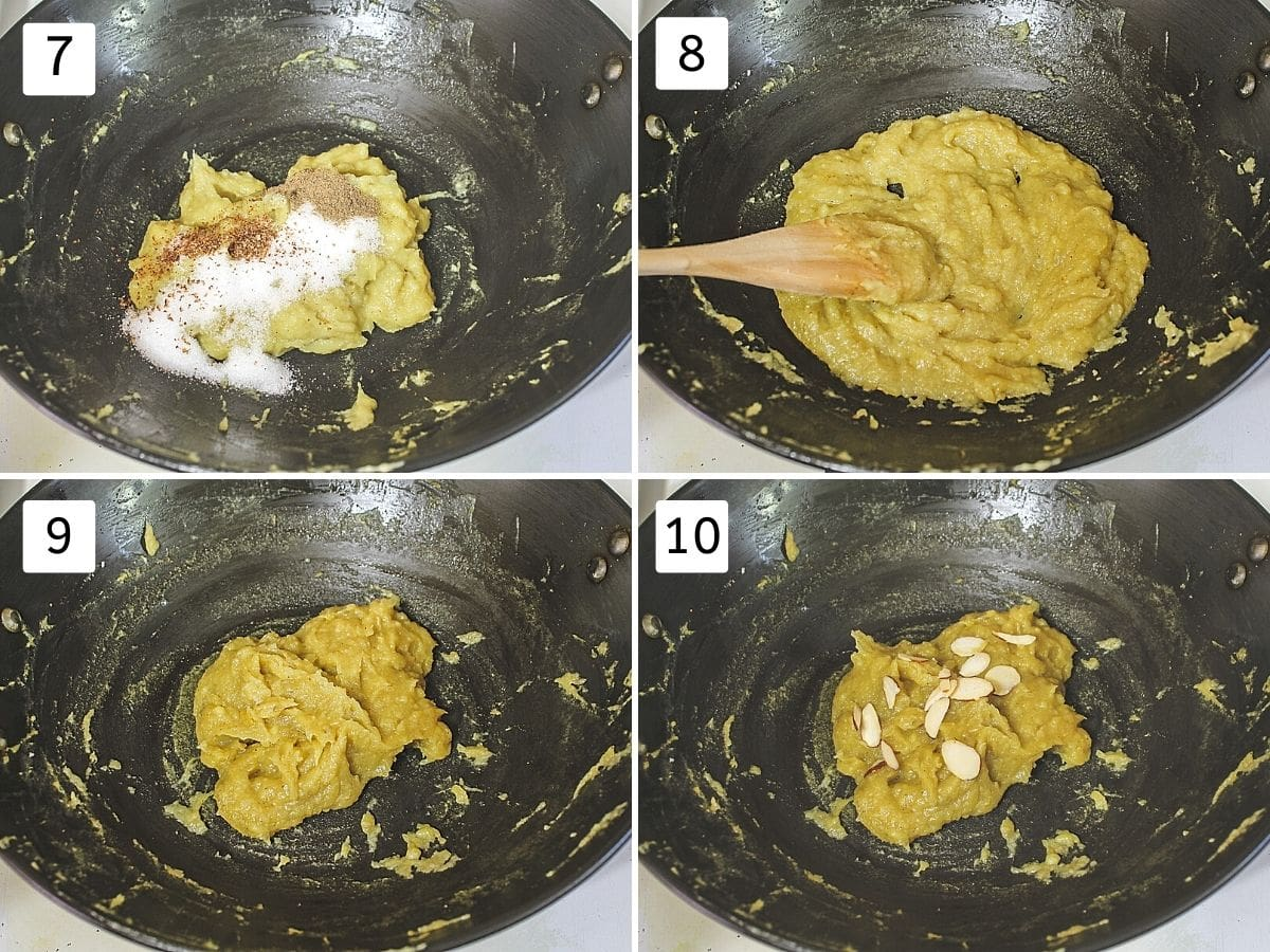 Collage of 4 steps showing adding sugar, mixing, cooked halwa, garnished with almonds,