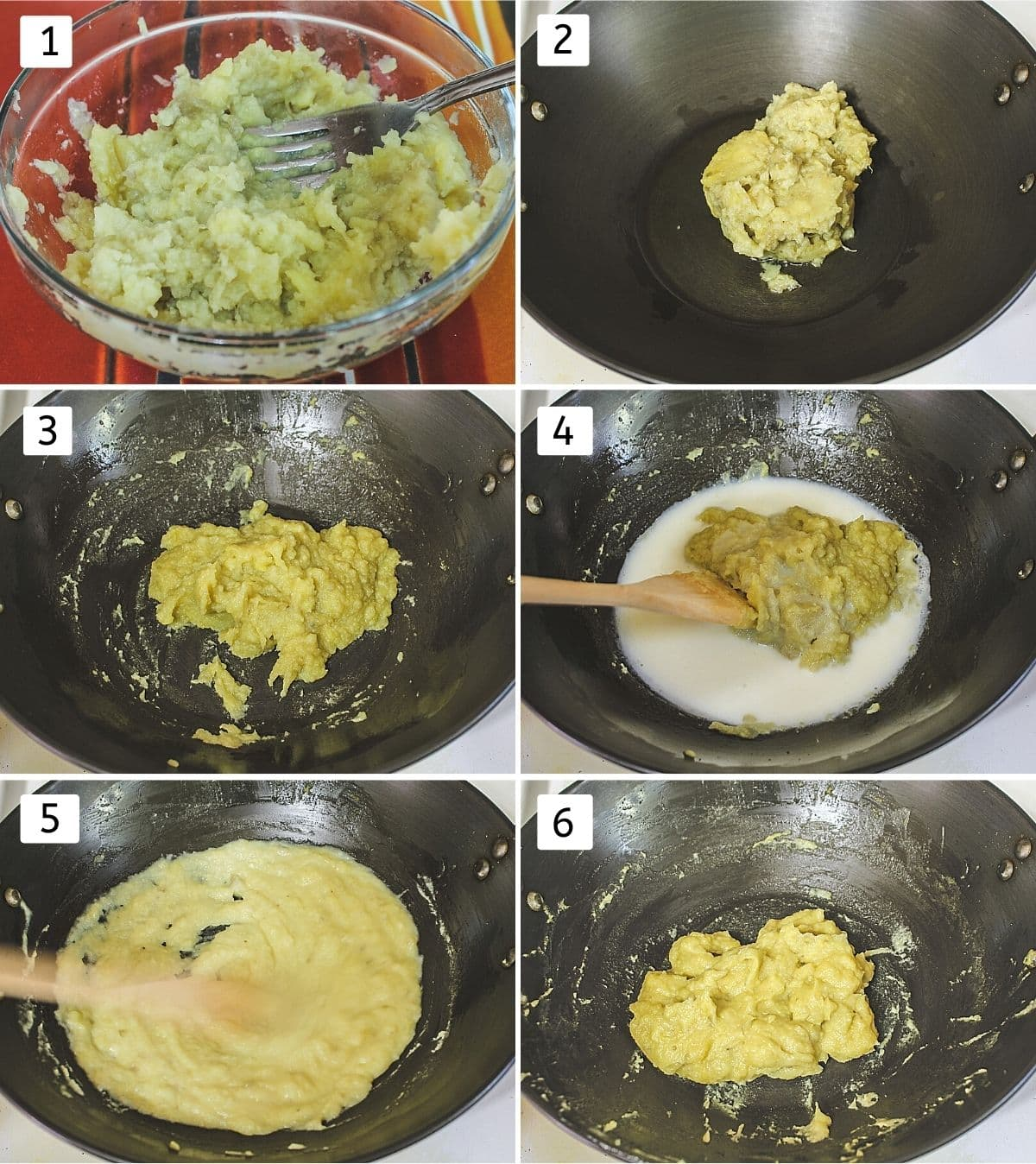 Collage of 6 steps showing mashed sweet potato, added to the ghee, cooked, added milk, stirring and cooked.