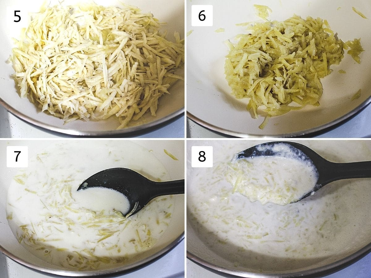 Collage of 4 steps showing adding grated potato, cooked sweet potato, adding milk, cooking mixture