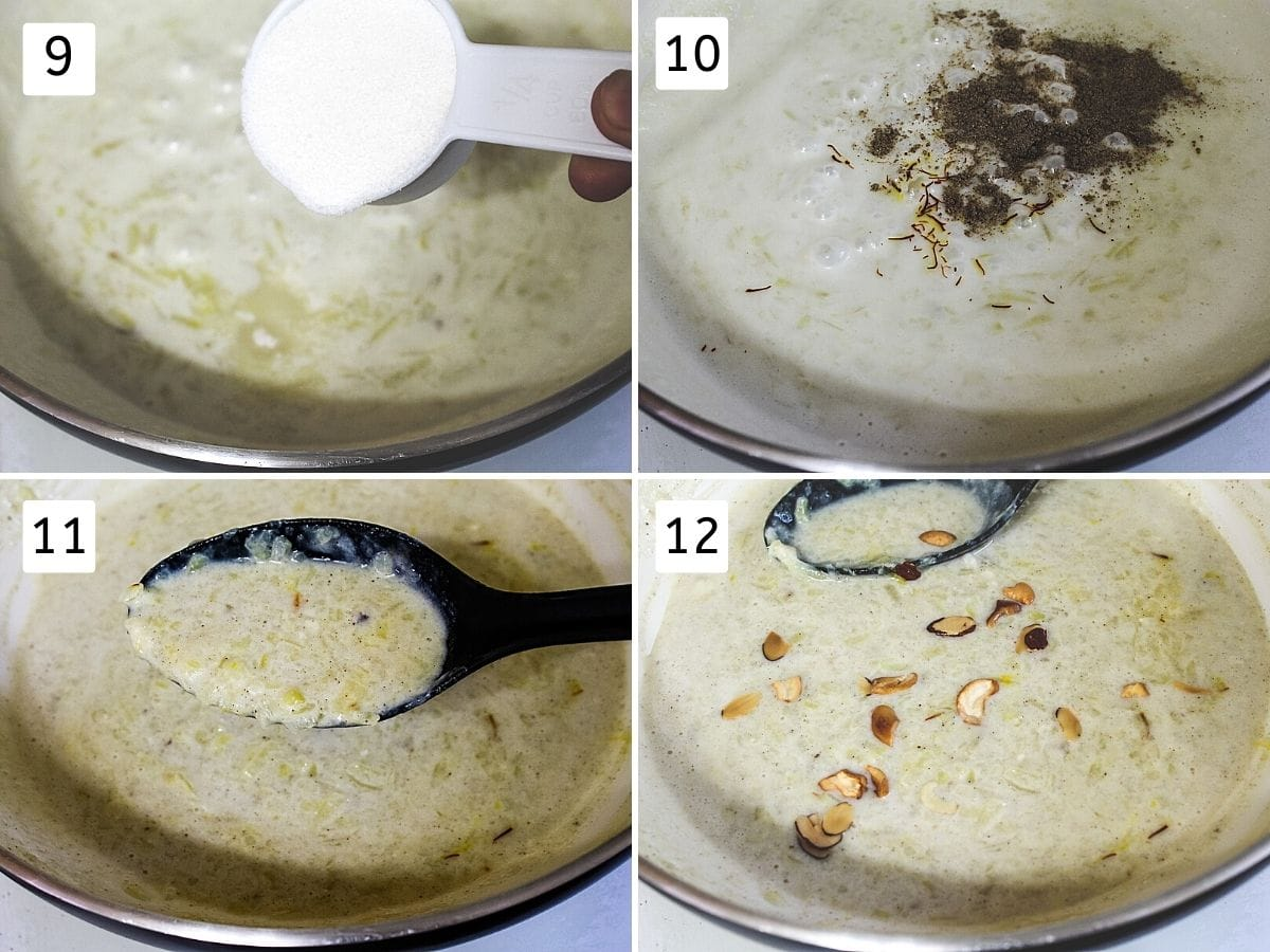 collage of 4 steps showing adding sugar, adding cardamom, saffron, thick kheer, adding nuts