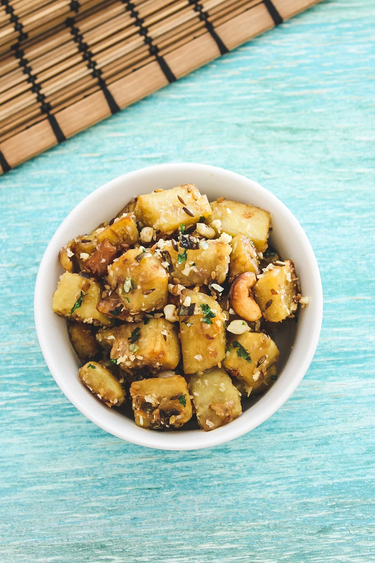 top view of sweet potato sabzi in a bowl