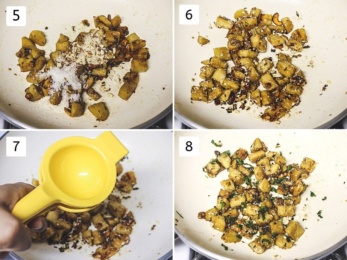 collage of 4 steps showing addition of peanuts and coconut, mixing, adding lemon juice, garnished with cilantro