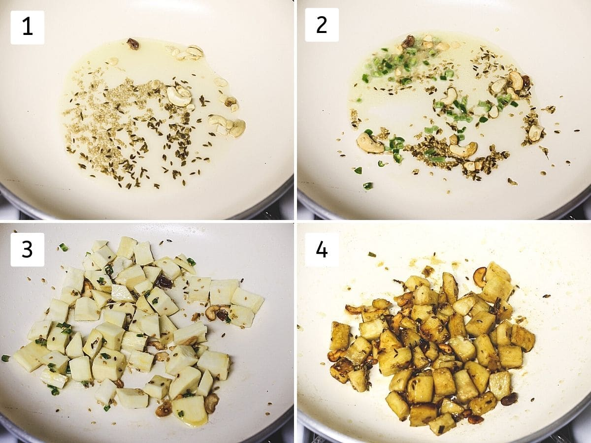 collage of 4 steps showing tempering made in the oil, frying green chilies, adding sweet potato and cooked sweet potatoes
