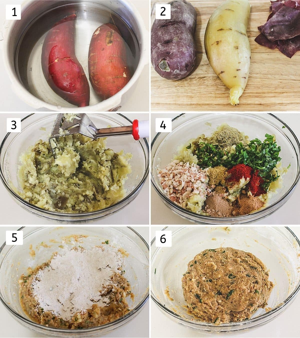 Collage of 6 steps showing sweet potato in a cooker, boiled, peeled, mashed, added spices, added flour and mixed.