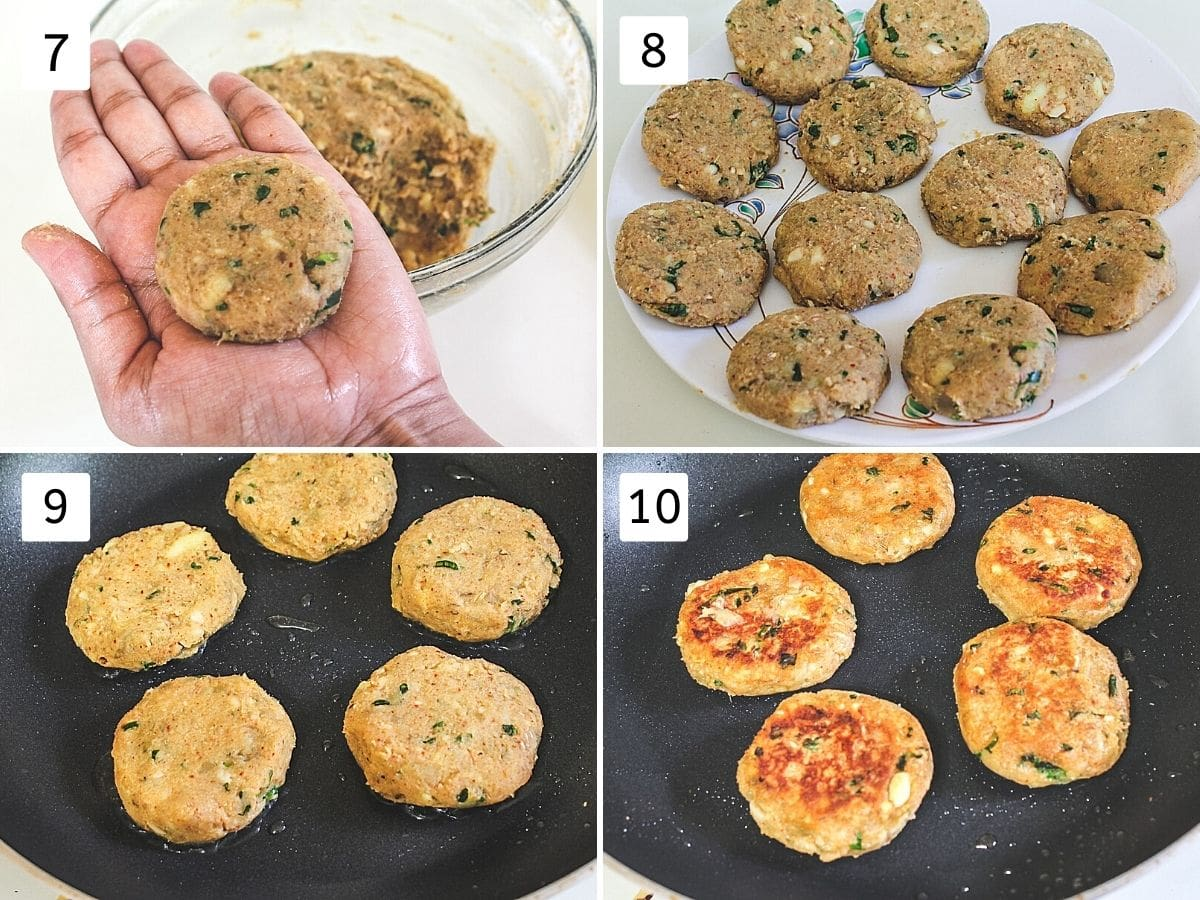 collage of 4 steps showing shaped tikki, all of them on a plate, frying in a pan, flipped.