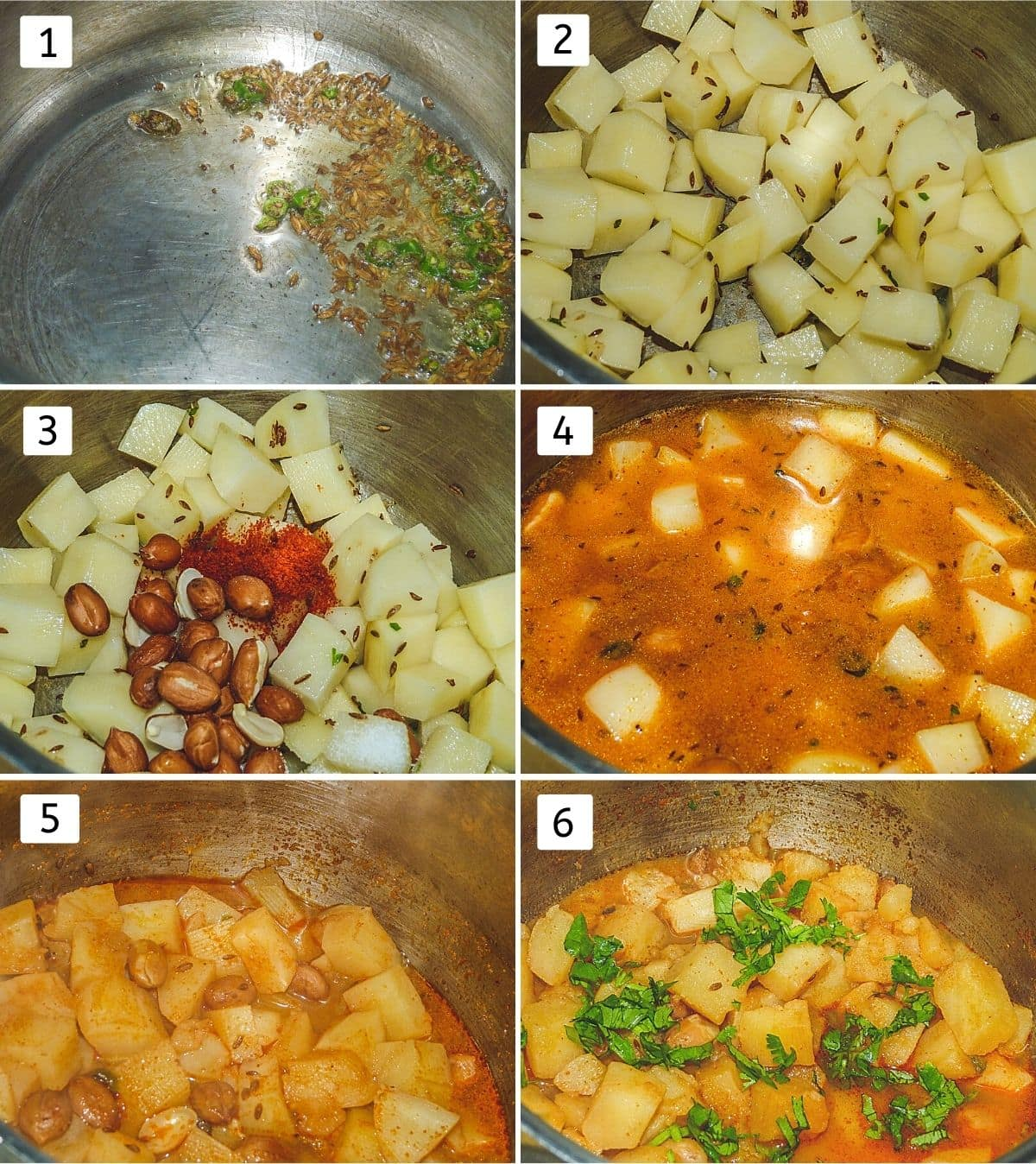 Collage of 6 images showing cumin seeds and chilies in the ghee, added potatoes, peanuts, chili powder, water, pressure cooked, garnish cilantro