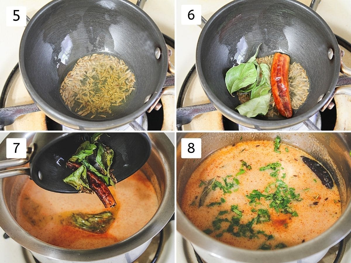 Collage of 4 steps showing cumin seeds in the oil, adding curry leaves, dried chili, adding tempering to kadhi, adding cilantro