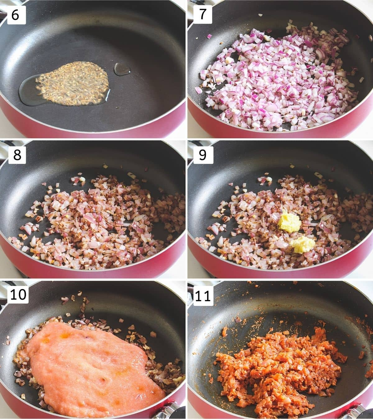 Collage of 6 steps showing cumin seeds in oil, adding onions, cooked onions, adding ginger garlic, adding tomato, cooked.