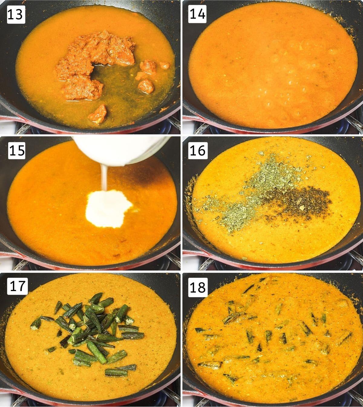 Collage of 6 steps showing adding water, simmering, adding yogurt, adding garam masala, adding cooked okra, mixed.