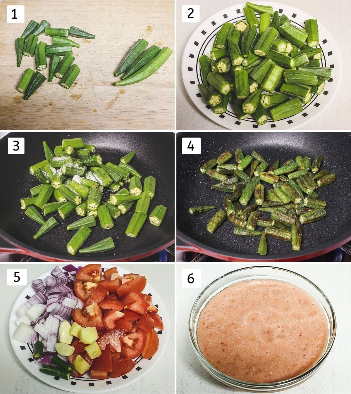 Collage of 6 steps showing cutting okra, cut okra in a plate, cooking okra, gravy ingredients in plate, ground into paste.