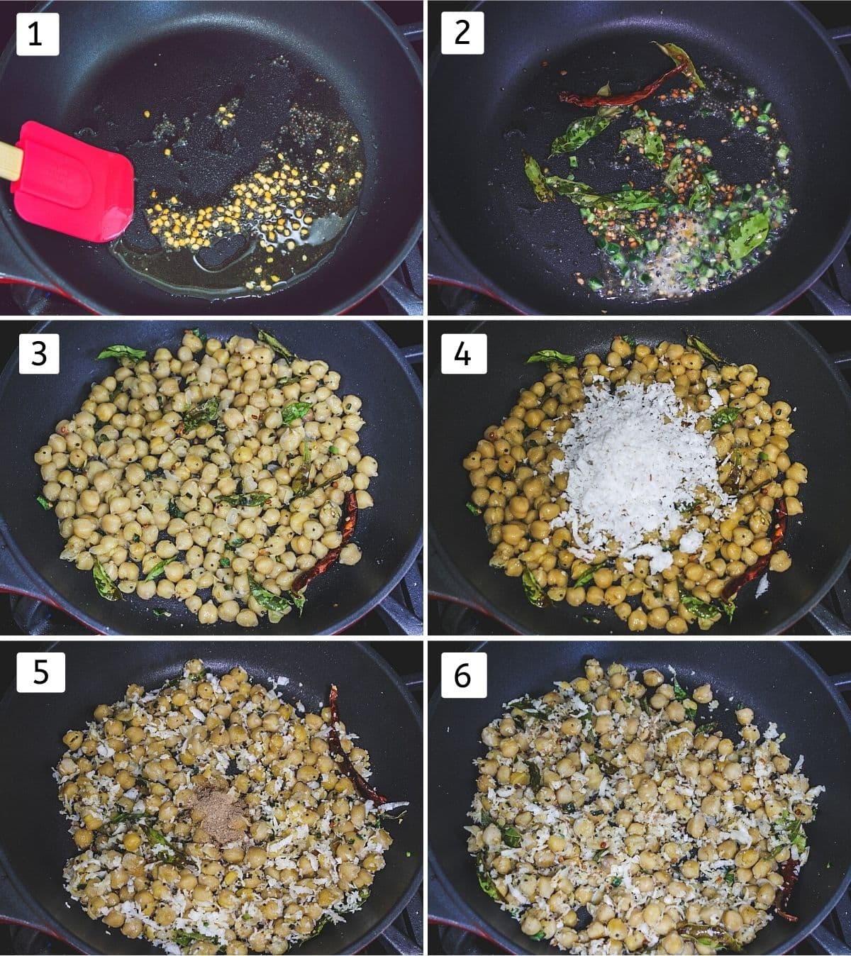 Collage of 6 steps showing tempering, adding chilies, curry leaves. adding chickpeas, coconut. mixed. adding amchur.