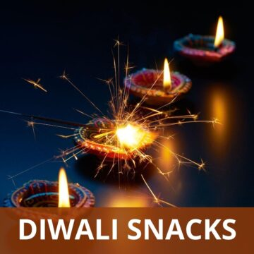 4 diyas in a line with text 'Diwali snacks' on the image