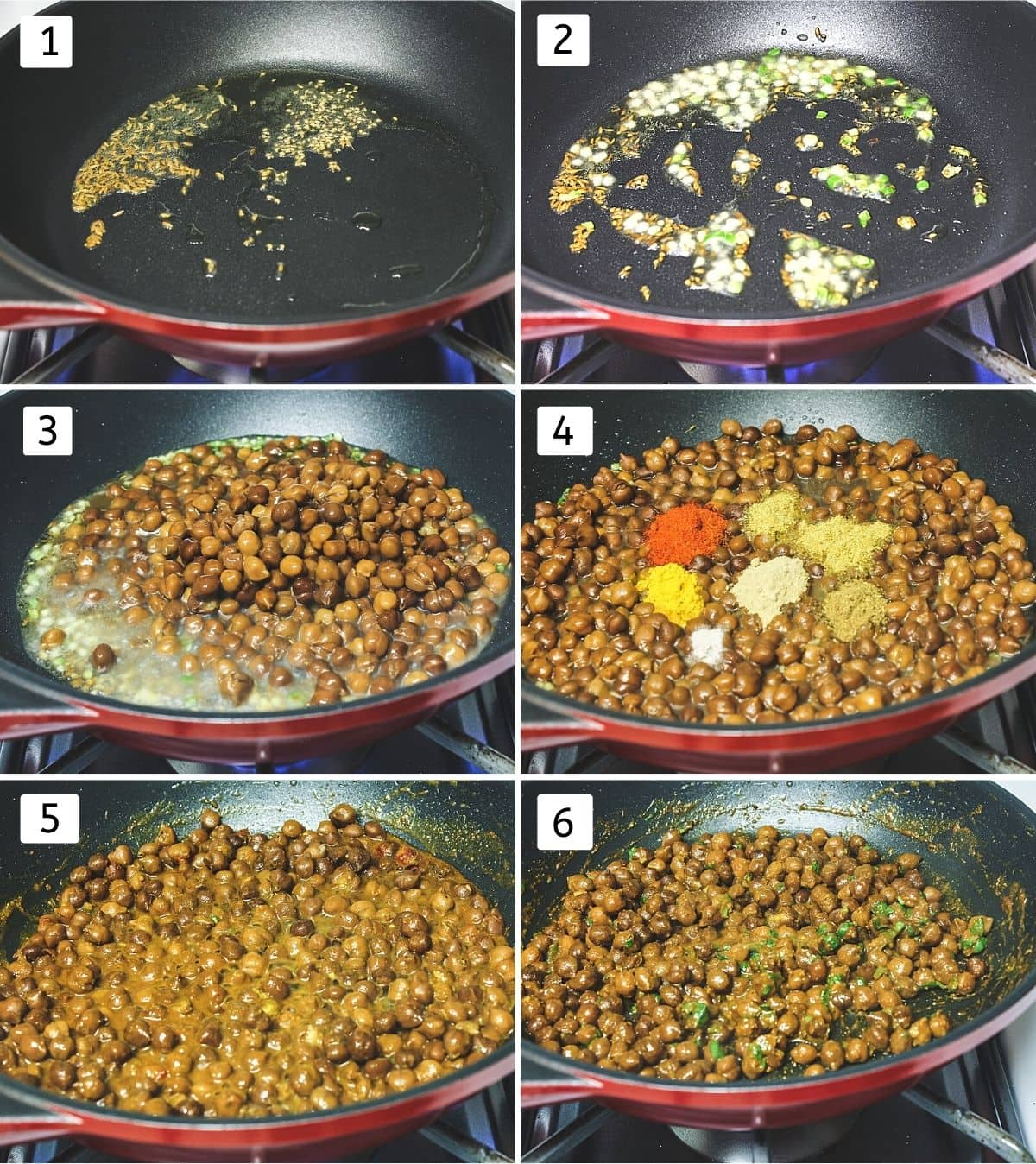 Collage of 6 steps showing cumin, ajwain in the oil, added ginger, green chili, added boiled chana, spices, simmer, add cilantro.