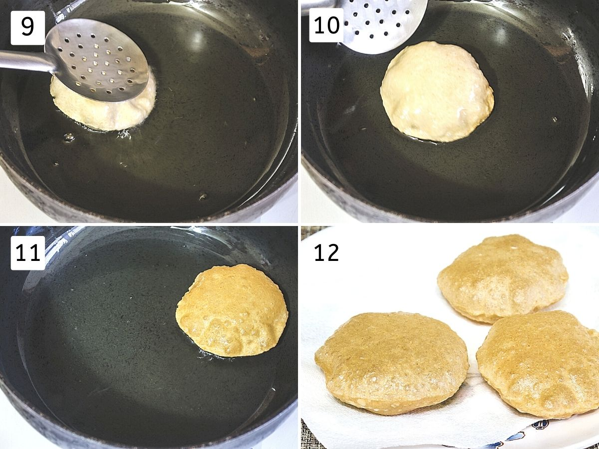 Collage of 4 steps showing pressing puri with spatula, puffed puri, flipped, removed on the plate.