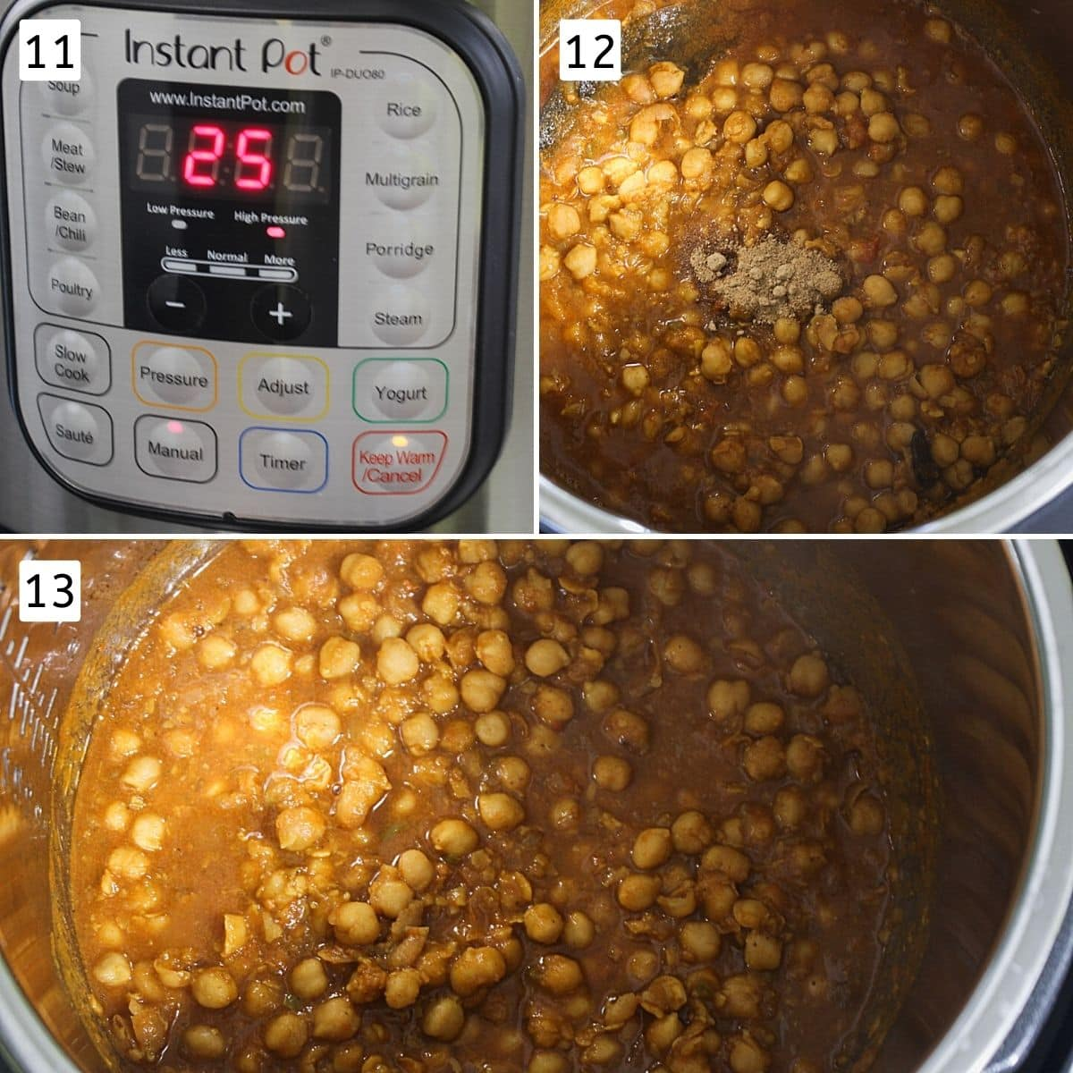 Collage of 3 steps showing Instant pot timer, adding amchur, cooked chole masala.