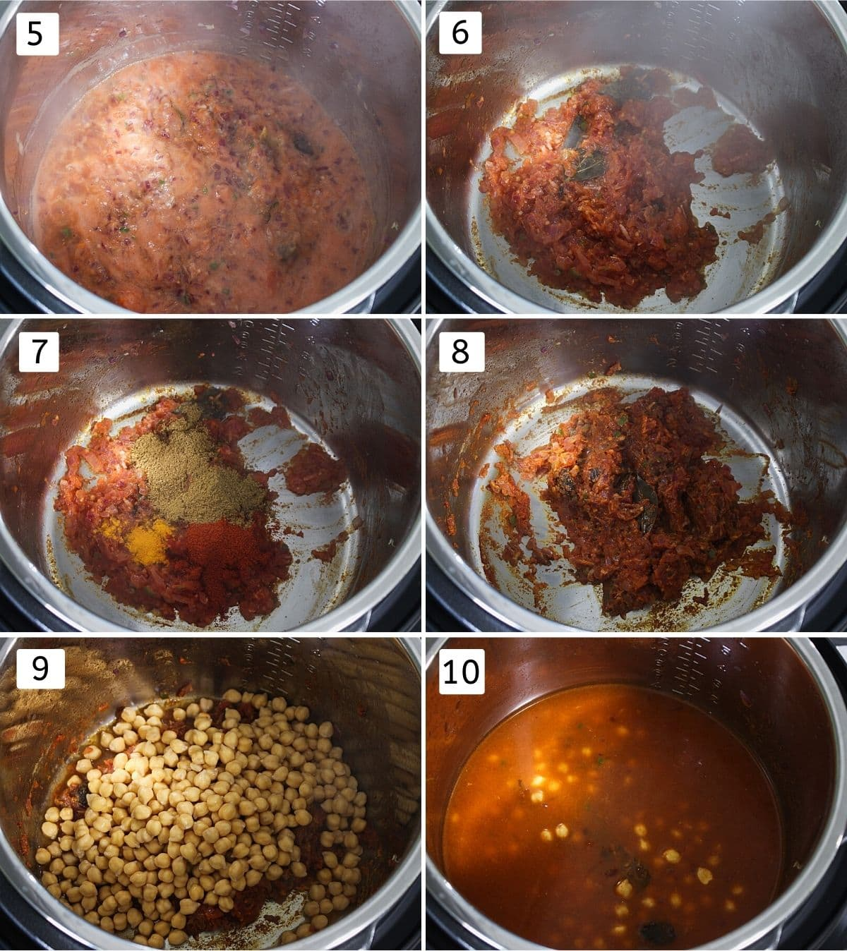 Collage of 6 steps showing adding tomato, cooked puree, adding spices, mixed, adding chickpeas and water.
