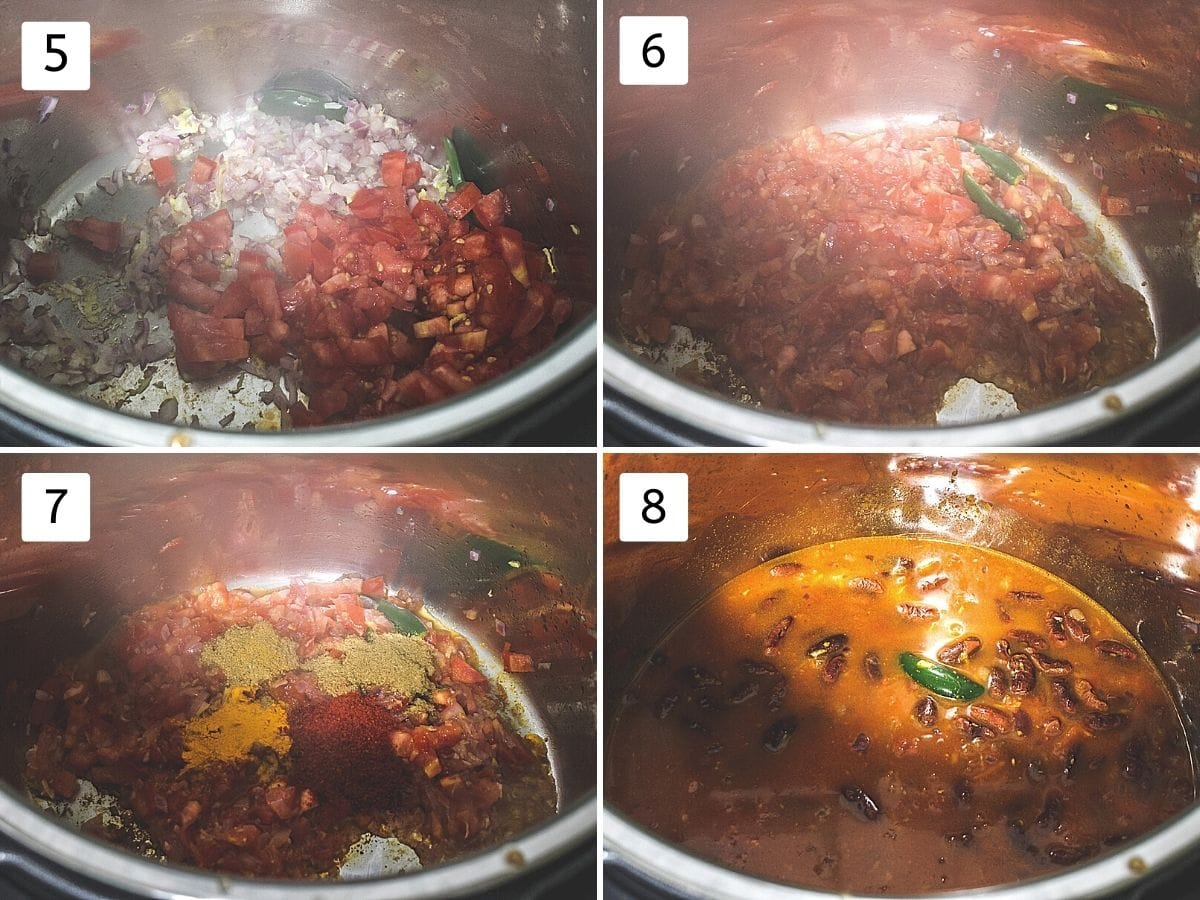 Collage of 4 steps showing adding tomato, cooked tomato, adding spice powders, adding soaked beans, water.