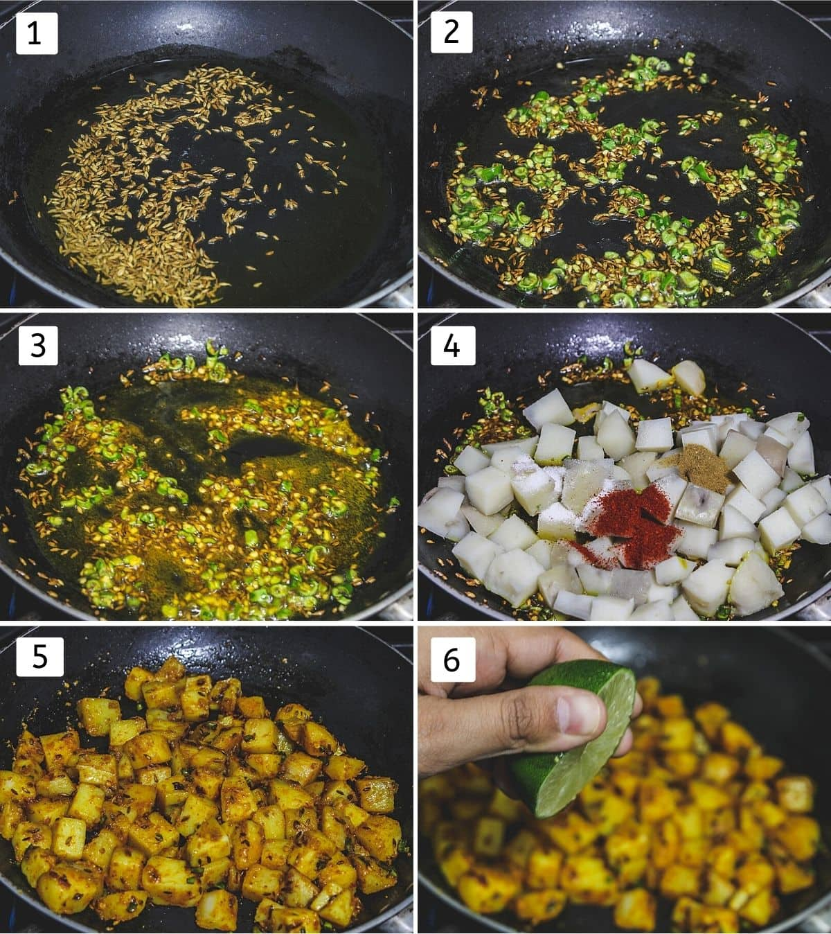 Collage of 6 steps showing cumin seeds in oil, adding ginger green chili, adding turmeric, potatoes, spices, mixed, adding lime juice.