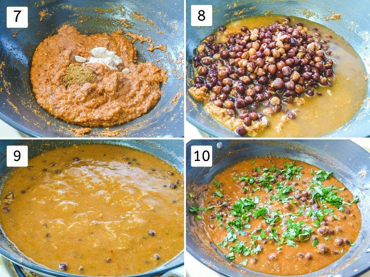 Collage of 4 steps showing adding garam masala, adding boiled chickpeas, simmering, garnishing with cilantro.