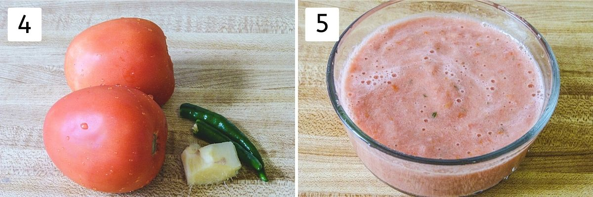 Collage of 2 steps showing tomatoes, ginger, chili in left image and puree in right image.