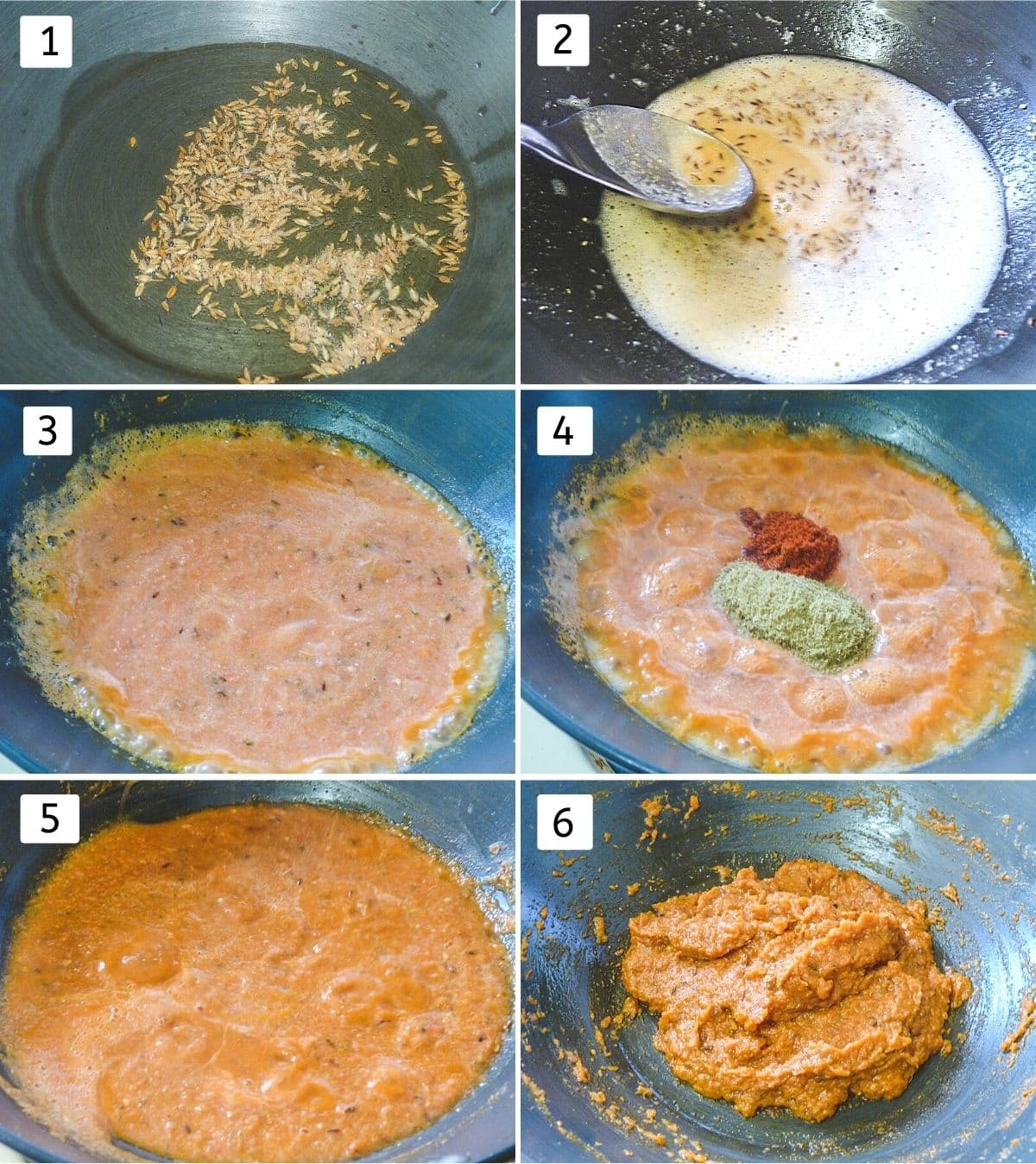 Collage of 6 steps showing cumin in oil, adding besan, adding puree, adding spices, simmering, thick paste.