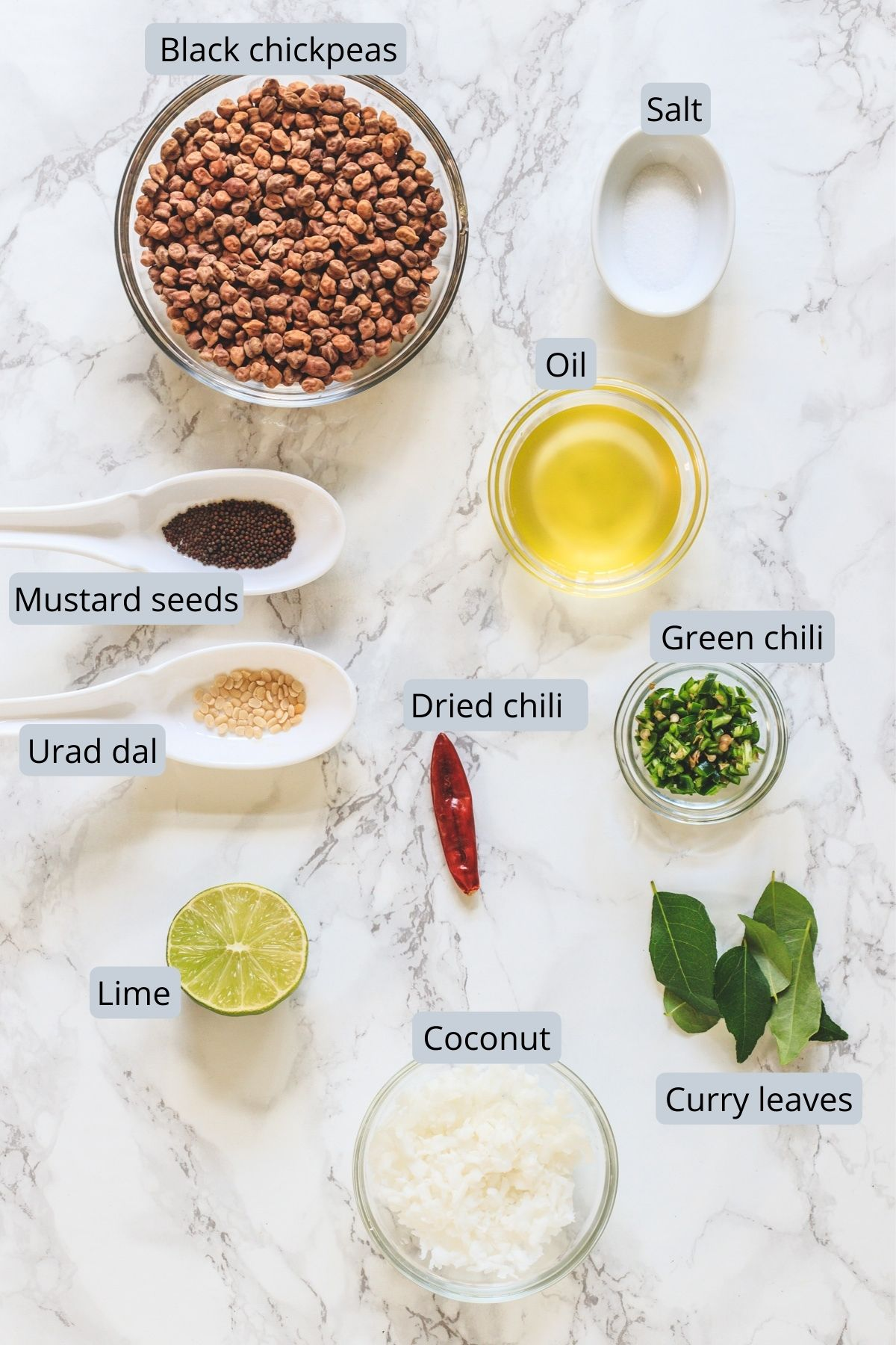 Ingredients used in kala chana sundal includes black chickpeas, coconut, oil, salt, curry leaves, chilies and spices.
