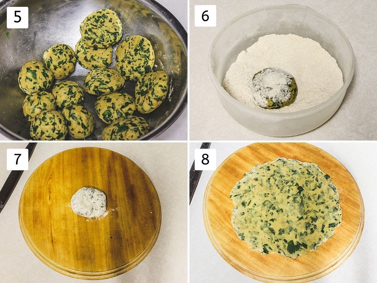 Collage of 4 steps showing dough balls, dusting with flour, on a rolling board, rolled paratha.