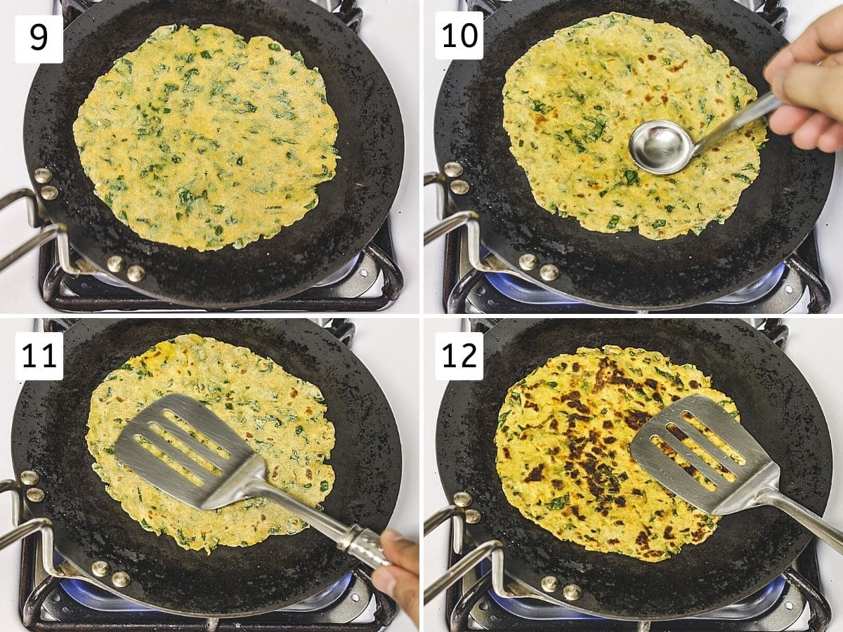 Collage of 4 steps showing paratha on tawa, applying oil, cooking by pressing, flipped and cooked.