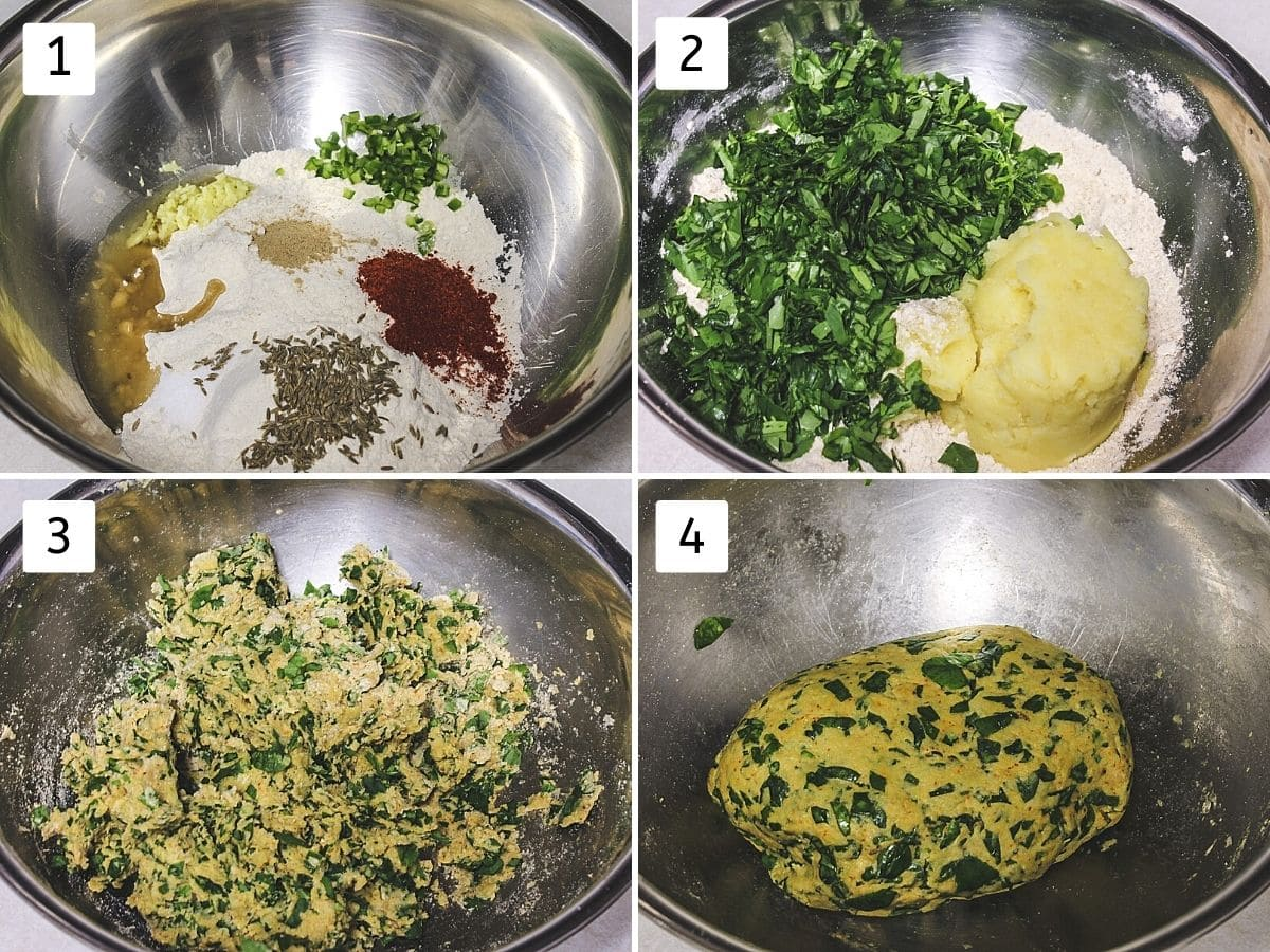 Collage of 4 steps showing flour, spices in a bowl, adding potato, methi, mixing and ready dough.