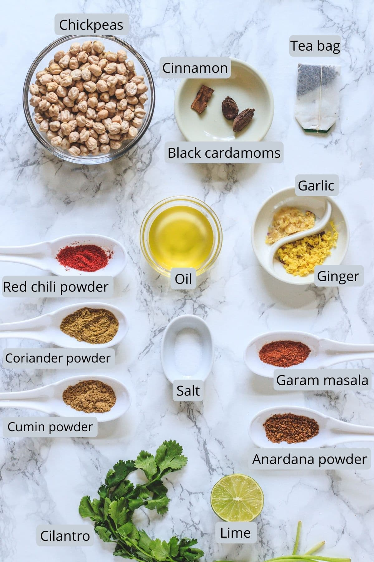 Ingredients used in pindi chole includes chickpeas, teabag, oil, salt, lime, ginger, garlic and spices.