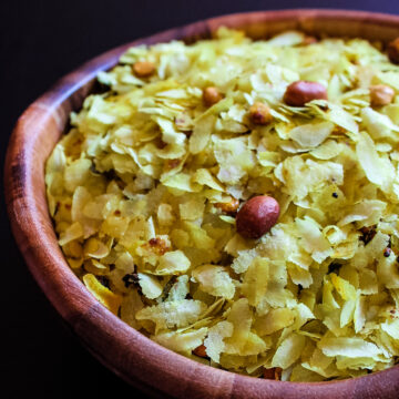 Close up of thin poha chivda in a bowl