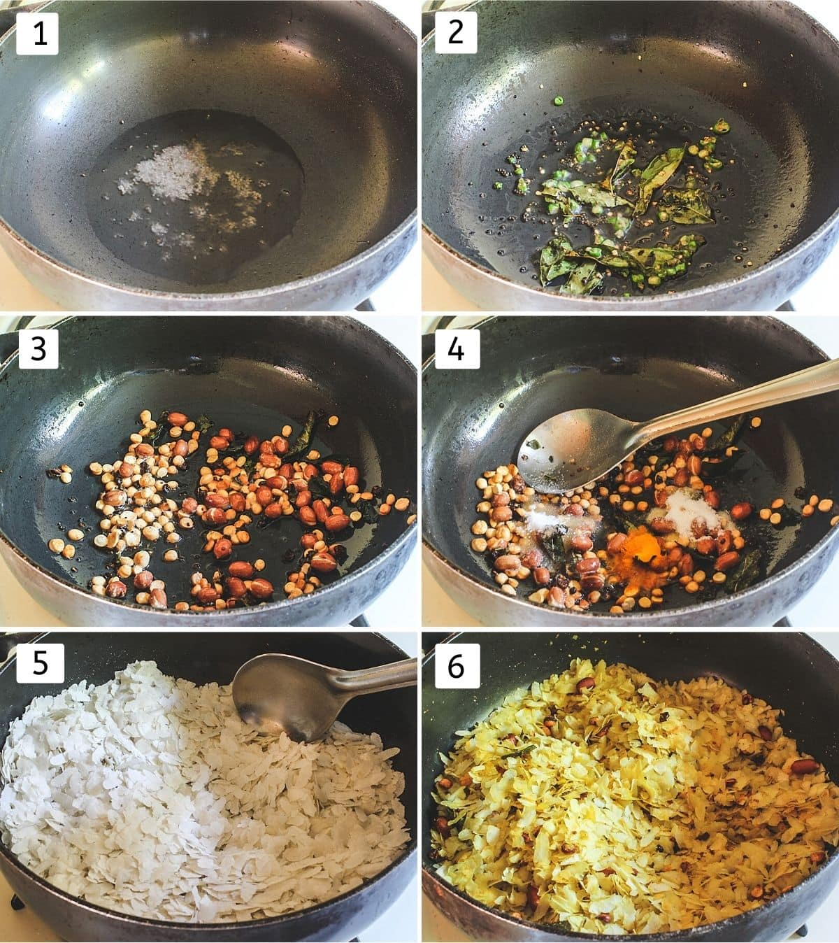 Collage of 6 steps showing mustard seeds in oil, chili & curry leaves, added nuts, adding spices, adding poha and mixed.