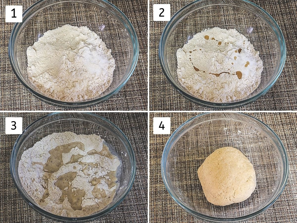 Collage of 4 steps showing flour in a bowl, adding oil, adding water, kneaded dough.