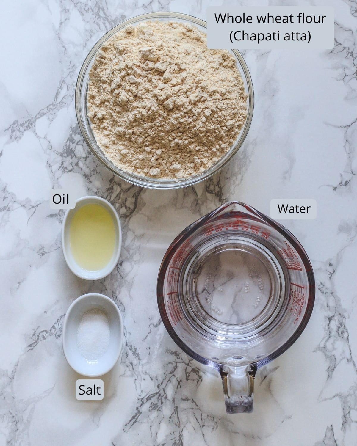 Ingredients used in making poori incudes chapati atta, salt, oil, water.