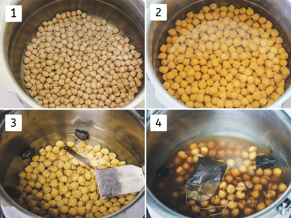 Collage of 4 steps chickpeas in water, soaked, adding spices, teabag and boiled chickpeas.