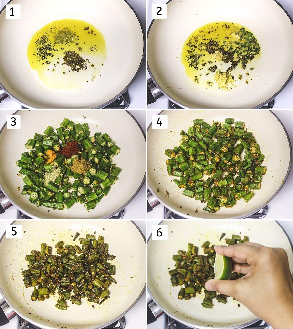 Collage of 6 steps showing tempering spices, adding ginger, garlic, adding okra and spice powders, mixing, cooked, squeezing lime.