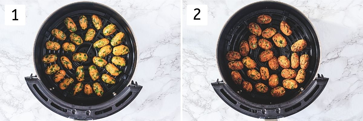 Collage of 2 steps showing shaped muthia in air fryer container and cooked muthia.