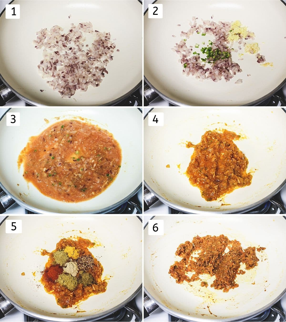 Collage of 6 steps showing adding onion, cooking, adding tomato puree, cooked, adding spices, mixed.