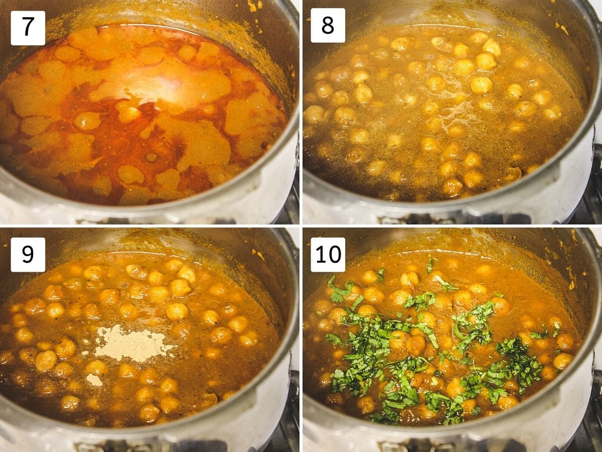 collage of 4 steps showing cooked chole, mixed, adding amchur, adding cilantro.