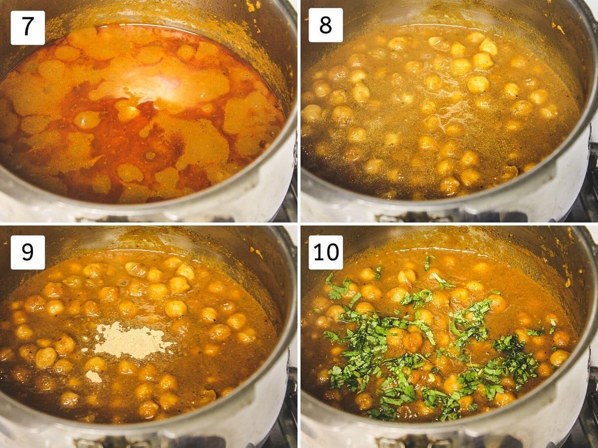 collage of 4 steps showing cooked chole, mixed, adding amchur, adding cilantro.