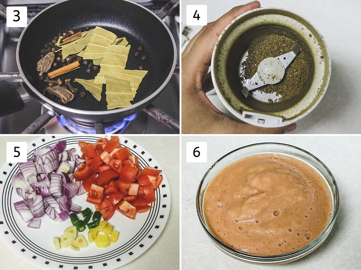 Collage of 4 steps showing roasting spices, ground into powder, chopped veggies and ground paste.