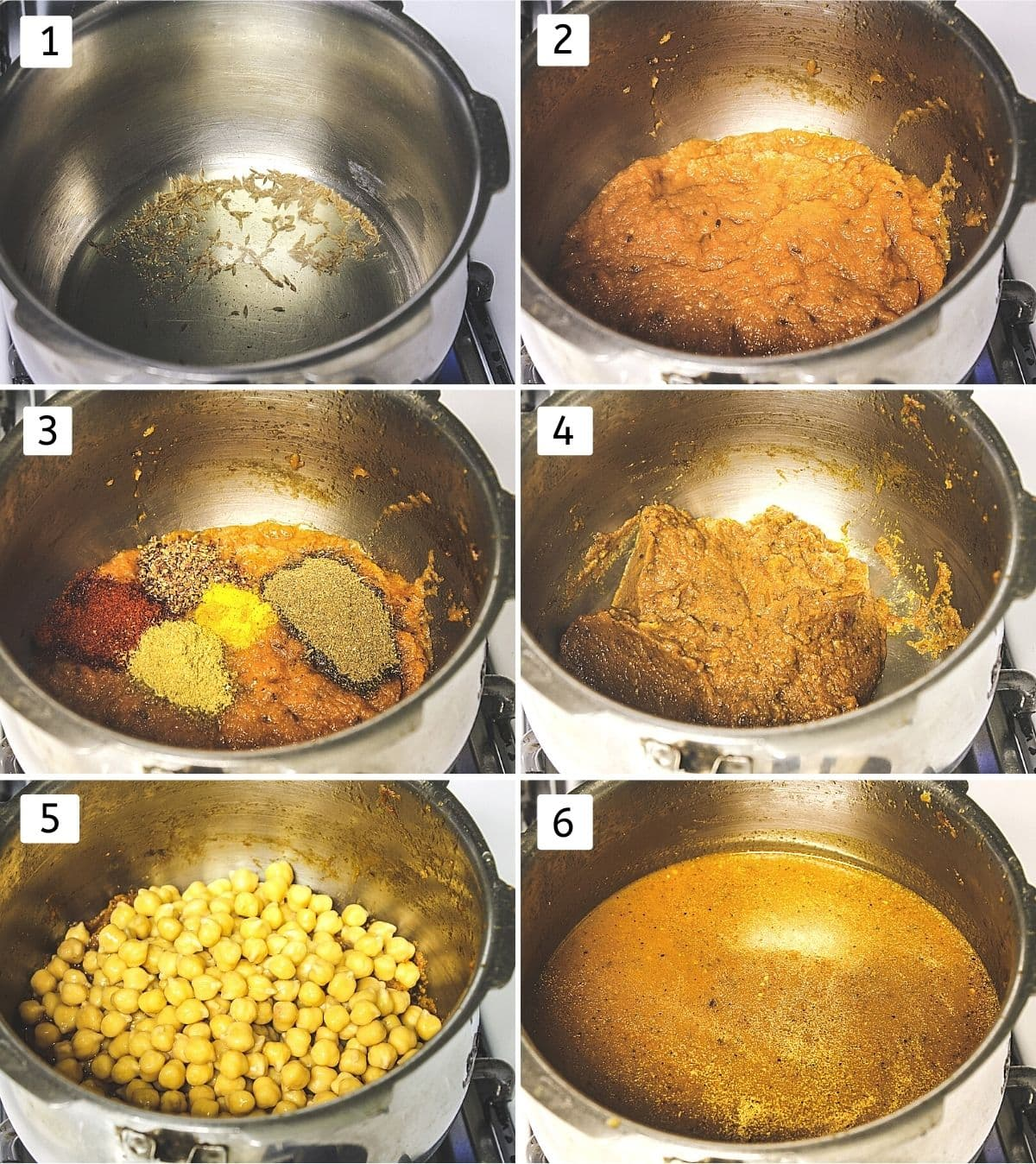 Collage of 6 steps showing cumin in oil, paste added, spices added, mixed, chickpeas added, water added.