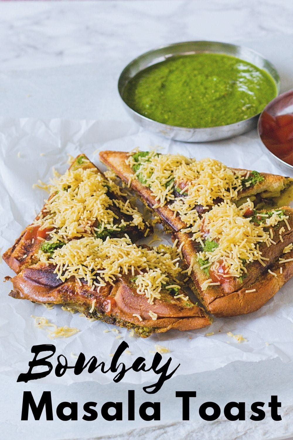 Masala toast sandwich with chutney and ketchup with text on the image for pinterest.