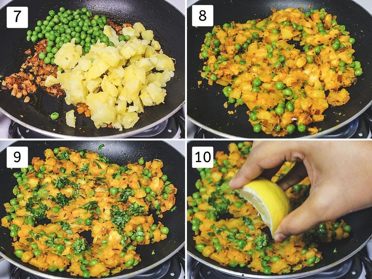 Collage of 4 steps showing adding boiled potato, peas, mixed, added cilantro and lemon juice.
